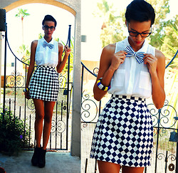 Luna Nova - Guess? Sleeveless Blouse, Thrifted & Diy High Waist Checkered Skirt, Diy Striped Bow Tie, Buffalo Exchange Color Block Beaded Bangle - Take a bow