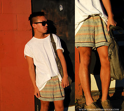 Stephen Pham - Gap Cotton T Shirt, Marni Silk Printed Shorts X H&M, Tom Ford Sunglasses, M0851 Leather Bag - Short September