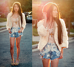 Jennifer Wang - Sugarlips Faux Fur City Jacket, Paradox Bleached Denim Shorts - INFINITE