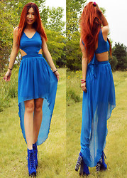 Cassandra Y. Liu - Love Blue Maxi Dress, Jeffrey Campbell Spikes Litas - Love is composed of a single soul inhabiting two bodies