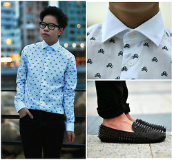 Bryant Lee - Zara Skull Printed Button Up, Unif Spiked Leather Loafers, H&M Black Skinny Jeans - BONES