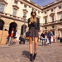 Anouska Proetta Brandon - Sandro Shorts, Markberg Accessories Bag &, Motel Rocks Jacket - London Fashion Week - Day 2