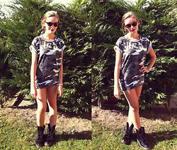 Lucy Kennedy - Dr. Martens Balck Leather Boots, Ray Ban Sunnies, Vintage Diy Studded Camo Printed Dress, Chanel Rouge Allure Lipstick - NEVER GIVE UP THE FIGHT
