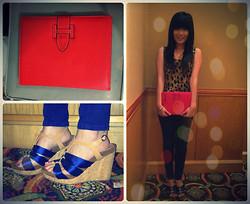 Meliani Chu - Hermës Ipad Case, Maire Klaire Wood Wedges, Forever 21 Leopard Top, Nudie Jeans Long - Simple like this.