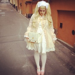 Pandasoppa . - Angelic Pretty Dress, Angelic Pretty Bag, Baby The Stars Shine Bright Shirt, Baby The Stars Shine Bright Headdress - Vintage nightgown lolita