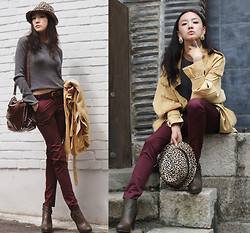 Becky Baek - Burberry Mustard Coat, Gray Knitwear, Wine Skinny Pants, Leopard Fedora, Brown Ankle Boots - Lovely color