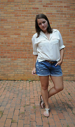 Katherine Pearce - Vintage Cream Button Down, American Eagle Denim Cut Off Shorts, Target Metallic Sandals - Tried and True