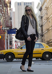 Marie Hamm - Ever Leather Jacket, Topshop String Scarf Necklace, Givenchy Bag, Madewell Belt, Current Elliott Jeans - Mercer St, NY.