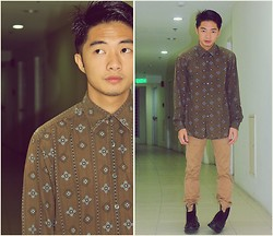 Levin Beren - Thrifted Button Down Shirt, Khaki Pants, Dr. Martens Boots - Lazy Eyes