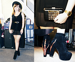 Patchie Valerio - Jeffrey Campbell Claw Lita, Forever 21 Studded Clutch, Casio Illuminator Watch, Brandy And Melville Black Dress - LBD x JEFFREY CAMPBELL CLAW LITA