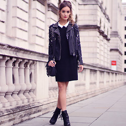 Anouska Proetta Brandon - Storets Jacket, Sandro Dress, Markberg Accessories Bag - London Fashion Week - Day 3