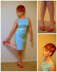 Kiki Marie - H&M Hair Roses, Qupid Pink Satin Heels, Talbots Teal Polka Dot Wiggle Dress - Fill the Void Up With Celluloid