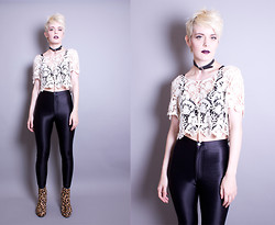 Roxy Starr - Idontlikemondays Cross And Bone Choker, Vintage Lace Top, American Apparel Disco Pants - I dont like mondays