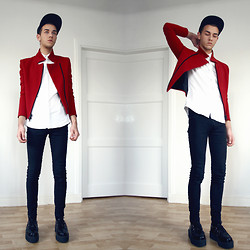 Joachim Kullberg - Made By Me Red Jacket, H&M Shirt, Dr Denim Jeansmakers Jeans, Creepers - Red