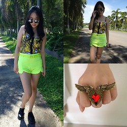 Lynette J. - Romwe Rounded Sunglasses, F Baroque Bralet, Romwe Neon Shorts, Dr. Martens Boots, Tribal Angel Wing Ring, Angel Heart Ring - It's All About the Colours