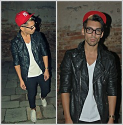 Kevin Nicolas - Zara Black Leather Jacket, Continental Basic White T Shirt, New Era Red Ny - Hurts - Stay