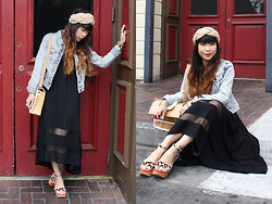 Toshiko S. - Dolce Vita Lilly Sandals, Nameless Black Fishtail Dress, Thread & Supply Acid Wash Denim Jacket, H&M Braided Knit Headband - Lilly of the Red