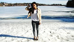 T R - Hm Jacket, Deichmann Heels - High heels in low snow