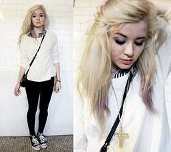 Alissa L - Cross Necklace, Pullover, H&M Striped Button Down, Converse Black Lo Top, Michael Kors Cross Body Bag - Still fly