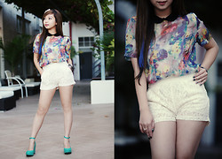 Shar Regis - Collared Floral Chiffon Top, Lace Shorts, Ankle Strap Wedge - Last Shot For Summer