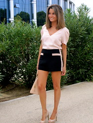 Silvia Garcia Blanco - Zara Blouse, Forever 21 Shorts, Louis Vuitton Bag, Mari Paz Shoes - Soft Pink and Black / Rosa Suave y Negro