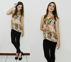 Roberta Rogge - Zara Shirts - Colorful Flowers on Black