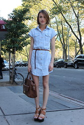 Ella Catliff - Reiss Denim Shirt Dress, Topshop Skinny Leather Belt, Anya Hindmarch Tan Bag, Topshop Chunky Sandals - New York Fasion Week SS13, Day 7