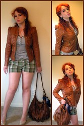 "Kiki Marie - Target Faux Leather Jacket, H&M Faux Leather Purse, Guess? Nude Pumps, Thrifting Golf Shorts - ""Eagles Goth"" by Eagles of Death Metal"