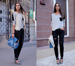 Nika H - Chicnova Top, Diy Jeans, Vjstyle Bag - Ripped Jeans