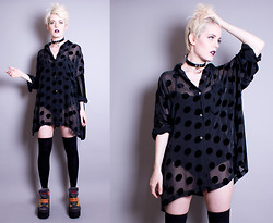 Roxy Starr - Vintage Sheer Black Polka Dot Blouse - Good at being bad