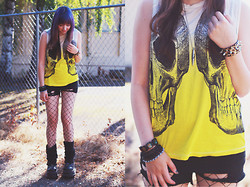Jenna G - Urban Outfitters Skull Shirt, Hand Made Ripped Legging Shorts, Demonia Platform Shoes, Hot Topic Spike Bracelet, Cyberdog Bullet Necklace - Want It Back