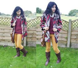 Iffa A - River Island Brown Leather Bag, H&M Cable Knit Burgundy Jumper, Topshop Mustard Yellow Skinny Trousers, Koi Couture Brown Boots, H&M Pearl Collar Necklace, River Island Aztec Print Coat, Rolex Custom Made Diamond And Gold Watch - Country Girl