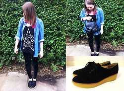 ○○✝Ashley Dolan✝○○ - Urban Outfitters Oversized Denim Shirt With Gold Collar Tips, Urban Outfitters New Age Tee, Black Milk Clothing Velvet Leggings, Primark Black Backpack, New Look Black Suede Platform Shoe - The Blackout- Start The Party