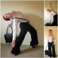 Kiki Marie - H&M Suspenders, Guess? Black Patent Heels, Target Black Laptop Bag, Thrifting Striped Business Shirt - We just want to emote 'til we're dead!
