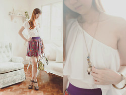 Valerie Chua - Forever 21 Purple Flared Skirt, Iconique Wesley Chiffon Top, Charles And Keith Dark Grey Heels, Desigual Rigodo Mandala Print Bag, Forever 21 Floral Printed Bangle, My Gilded Nest Charm Necklace - When I'm waiting for the day