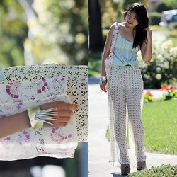 Elly F - Aeropostale Knot Tie Top, Forever 21 Anchor Print Palazzo Pants, Free People Floral Cloth Bag, Macy's Spike Cuff, Steve Madden Grettta Heels - The Last Days of Summer
