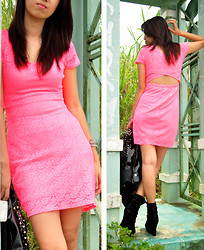 Gela De la Vega - More On My Blog, Forever 21 Dress - Neon Pink, Lace and Cut-out :)