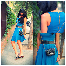 Mary Louise - Sfera Classic Blue Dress, Christian Dior Bag, Pilar Burgos Zapatos, Mango Belt - Mixing Style