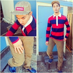 Mark Savella - Supreme Giraffe Print 5 Panel, Rugby Nautical, Levi's® Corduroy, Aldo Boat Shoes - Cordy-roy Boy