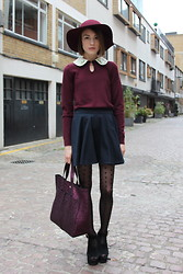 Ella Catliff - Jaeger London Embellished Collar Sweater, Uniqlo Burgund Hat, Topshop Navy Skirt, Anya Hindmarch Sparkly Tote, Topshop Suede Wedges - London Fashion Week SS13, Day 2