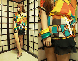 Giuliana Anastacio - Random Chiffon Top, House Of Cortez Chiffon Shorts, Gibi Heels, From Cebu Wooden Bangles - STAINED GLASS