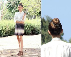 Victoria Y - River Island Sandals, Topshop Dress Worn As Skirt, Vintage Buttoned Shirt, Pearly Bun With A Studded Braid Around It - A headache skirt and a pearly bun