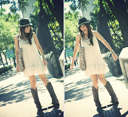 Barbara Crespo - Hakei Hat, Ada Gatti Mini Dress, Maje Shopper Bag, Sendra Cowboy Boots - Early autumn days