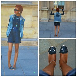 Eny K - Guess? Denim Vest, Brandy Mellvile Cross Necklace, Vintage Leather, Jeffrey Campbell Kitty Face - Day 3 in Paris: Rocker Casual