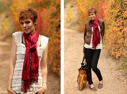 Rachael TreeTalker - Mine Lace Ruffle Shirt, Jones New York Red Scarf, Mac Studio Leather Jacket, Rocket Dog Tribal Shoes, Expressions Nyc Tapestry Bag - Fall Fashion