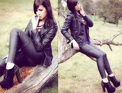 Nina Wirths - Primark Leather Jacket, H&M Leather Pants, Gina Tricot Shirt - A cold wind's whispering secrets in your ear
