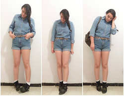Corona Australis - Levi's® Denim Shirt, Guess? Denim Shorts, Buk Ankle Boots, Thrift Store Backpack - Denim on Denim