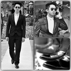 Jay Gillego - Onesimus White Neppy, Milanos Shoes Soft Pointed, Onesimus Black Slim Two Piece, Ray Ban Aviator - The Bachelor