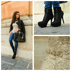 Lucia Palermo - Zara Leather Jacket, Zara Peplum Top, Stradivarius Jeans, Zara Boots, Giorgio Armani Bag - Peplum and studded