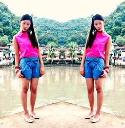 Cherys L - Neon Pink Top, Landmark,Trinoma Ribbon Denim Shorts, Colorful Feather Earrings - Sweet like a CANDY